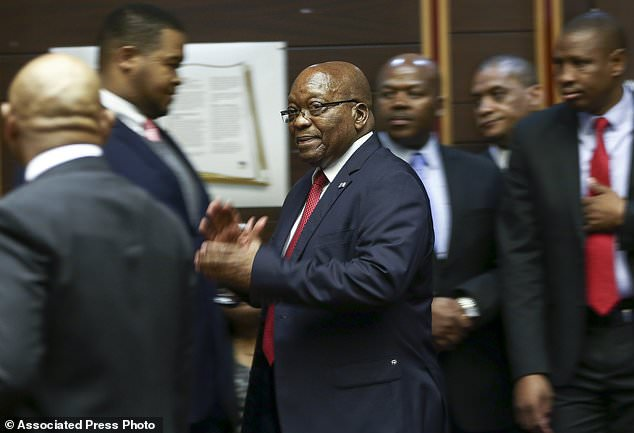 The ruling means further scrutiny of a 1999 arms deal in which Zuma (pictured in the High Court inPietermaritzburg, South Africa yesterday) is accused of receiving bribes from French arms manufacturer Thales
