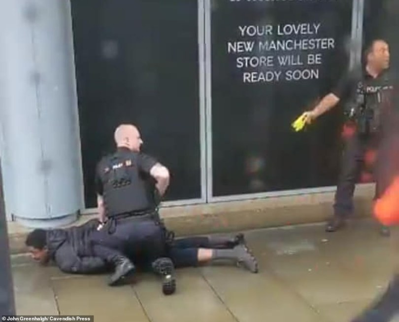 A tram passenger said his tram screeched to a halt before he saw the suspect screaming on the floor as he was arrested