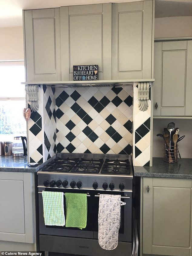 The grandmother, who said she had felt 'daunted' by the task at first, also cleaned and changed her tiling in the kitchen