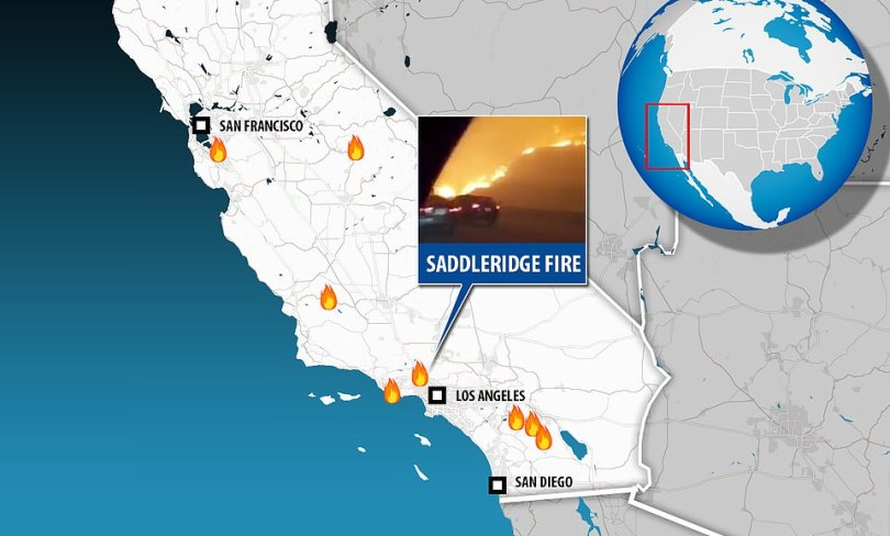 This map shows where the various fires in California are blazing, including the most recent Saddleridge Fire