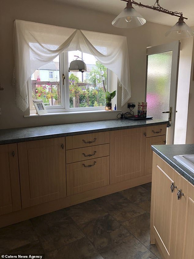 The grandmother had been in desperate need of a new kitchen, but said when she was quoted £3,000 she knew she couldn't afford it (pictured, before)