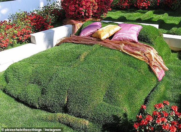 For other fans of sleeping outside one person has crafted the fake grass in their back garden into the shape of a king-size bed