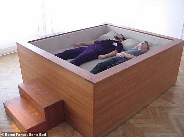 This coffin style bed is known as a Sonic Bed, made for listening to music in a surround sound designed by artist Kaffe Matthews