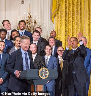 Kerr jokes with Obama, a noted basketball fan, in this picture from 2016