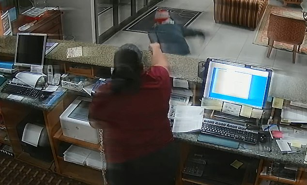 But while the thief was loading money into his bag, the female employee made a grab for his gun and pointed it at him
