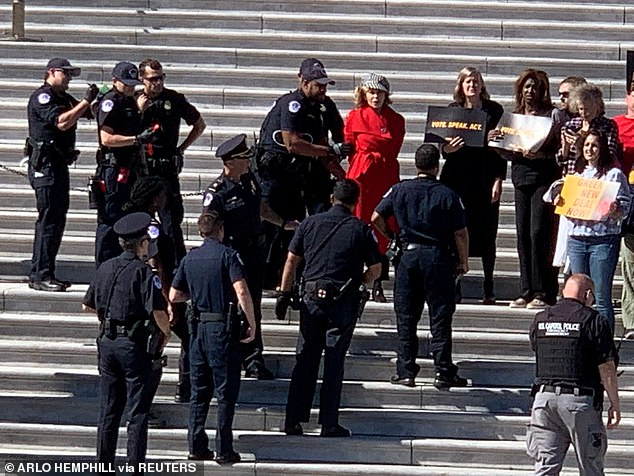 Jane Fonda appeared to have been arrested in front of the Capitol Building in Washington D.C.
