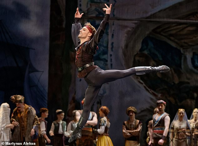 Daniel Dolan,a sporty working-class boy from Widnes, Cheshire, had his heart set on ballet from a young age. Pictured: Danielin a recent production of Le Corsiareat the Lithuanian National Ballet