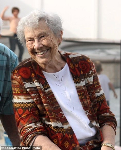 Victim Lois Arvickson, 89 (pictured), of Calimesa, had been missing since Thursday night after the Sandalwood Fire swept through the mobile home park where she lived
