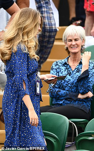 She was seen again at the tournament in July and took her place near her mother-in-law Judy. She was wearing a floating leopard blue shirt dress that seemed to indicate that she was pregnant