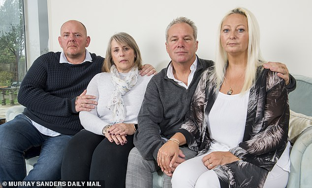 In mourning: from left to right, Tim, Tracey, Bruce and Charlotte