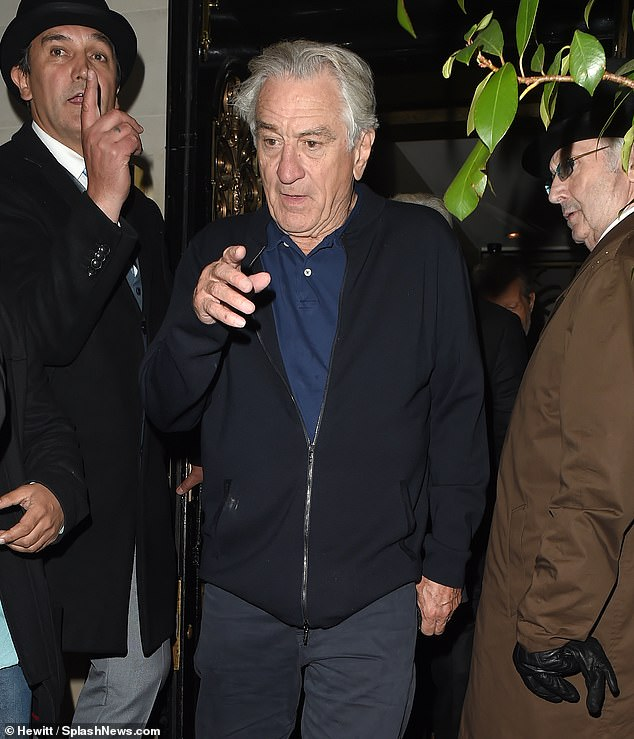 Gangster's dinner: Hollywood's biggest gangsters, Robert De Niro, 76, Al Pacino, 70 and Harvey Keitel, 80, were spotted having dinner together in Mayfair on Friday
