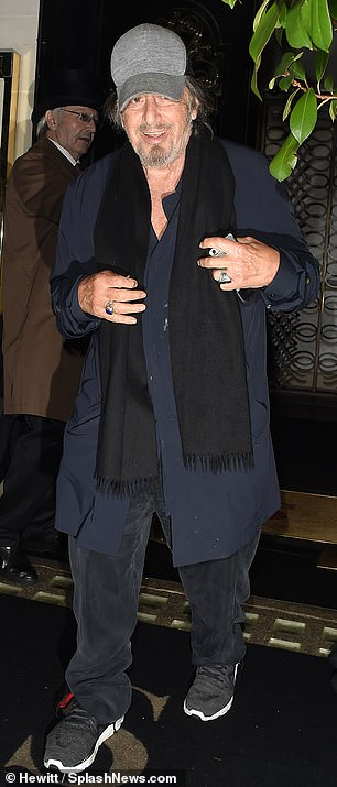 A jolly affair: Al Pacino, 70, (pictured) and Harvey Keitel, 80, joined De Niro as he headed to Scott's just hours after giving an interview about the new film all three of them star in