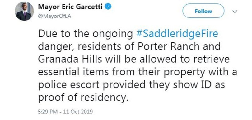 Accordinto LAPD Chief Moore, and tweeted by Mayor Garcetti (pictured), revealed that some residents affected by the fires will be allowed to briefly return to their homes to retrieve essential items