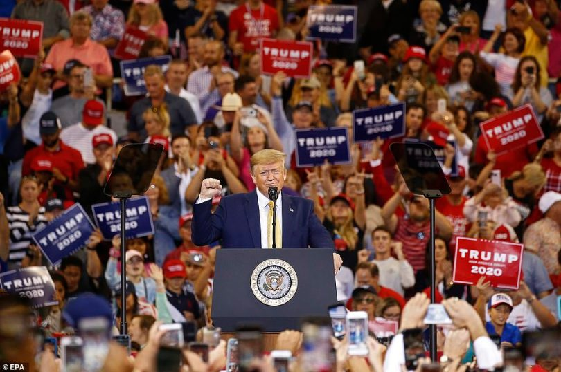Trump speaks to supporters at a rally inside the Sudduth Coliseum in Lake Charles, Louisiana