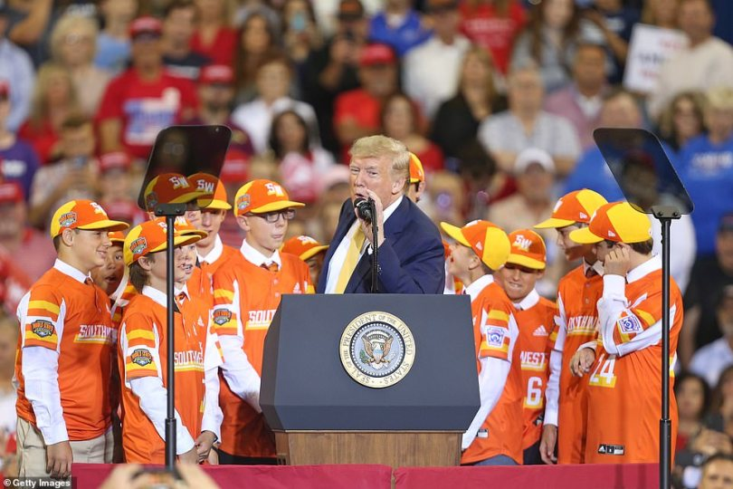 Trump invited the Eastbank All Stars up onto the stage, congratulating them on their phenomenal season