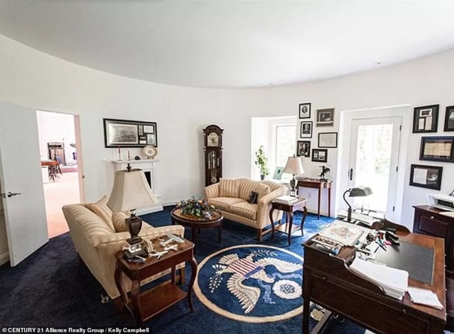 The replica Oval Office is about two-thirds the size of the real deal, and was created after the architect suggested the home's owner had somewhere 'important' to work in