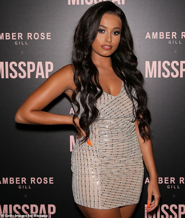 Bolt and his group of friends had earlier been spotted rowing with seven 'Eastern Europeans' inside the London venue where Love Island champion Amber Gill (pictured) was launching her MissPap clothing collection
