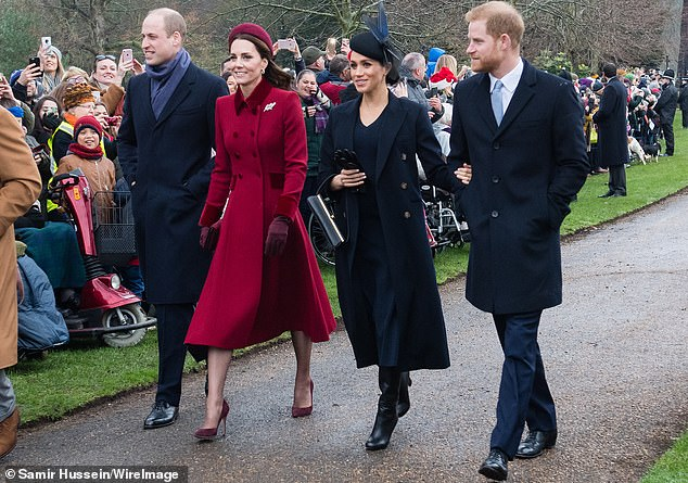 The Duke and Duchess of Cambridge with the Duke and Duchess of Sussex on Christmas Day service in St. Mary Magdalene on the Sandringham Estate last year