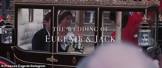 The video ends with Princess Eugenie and Jack Brooksbank being led away in a carriage as the words 'the wedding of Eugenie and Jack' appear