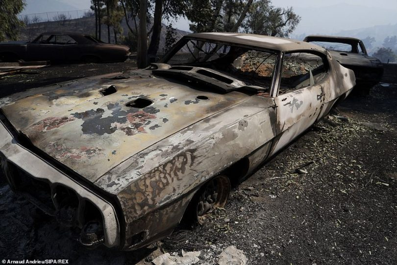 A private collection of 30 classic cars burned in Granada Hills, San Fernando Valley