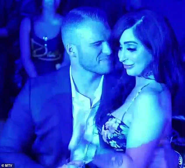Trouble: On Thursday's episode, Zack wrapped his hand around Angelina's waist in a nightclub and touched her bum as a drunk JWoww snoozed nearby