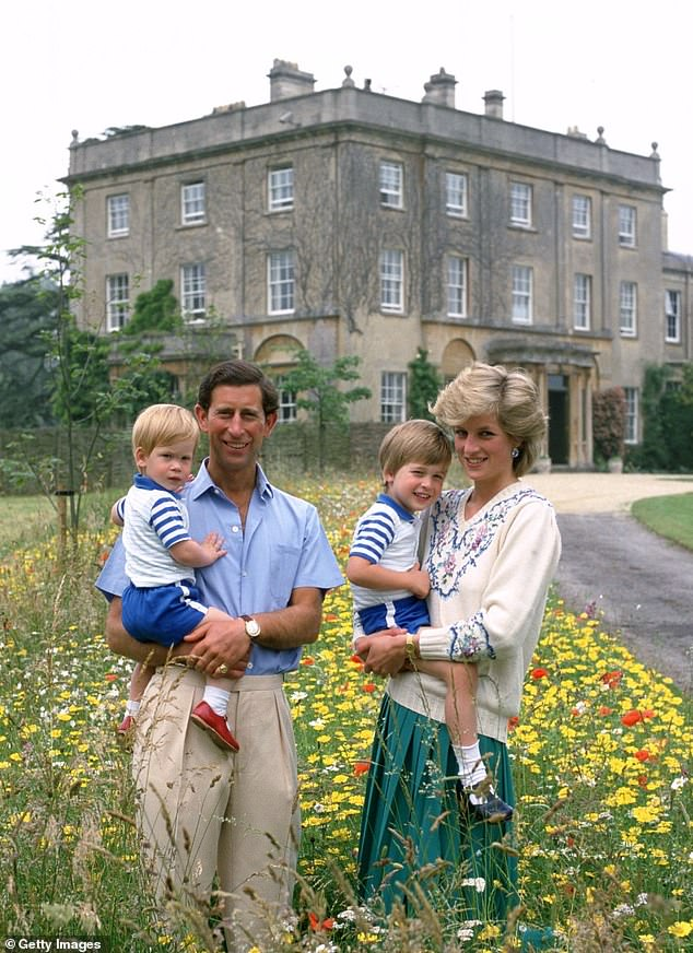 Prince Charles (along with Diana and her sons William and Harry at Highgrove in Tetbury, Gloucestershire) has been responsible for the Duchy of Cornwall property for 50 years
