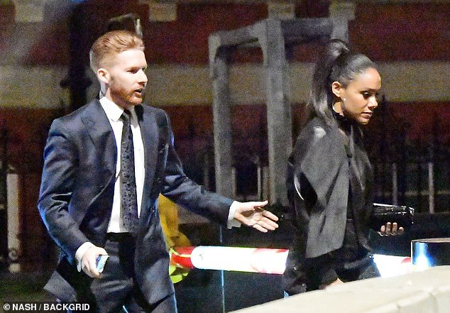 Getting animated: The dancer, who used to be married to professional Strictly star Katya Jones, threw his arms out as he walked with Alex
