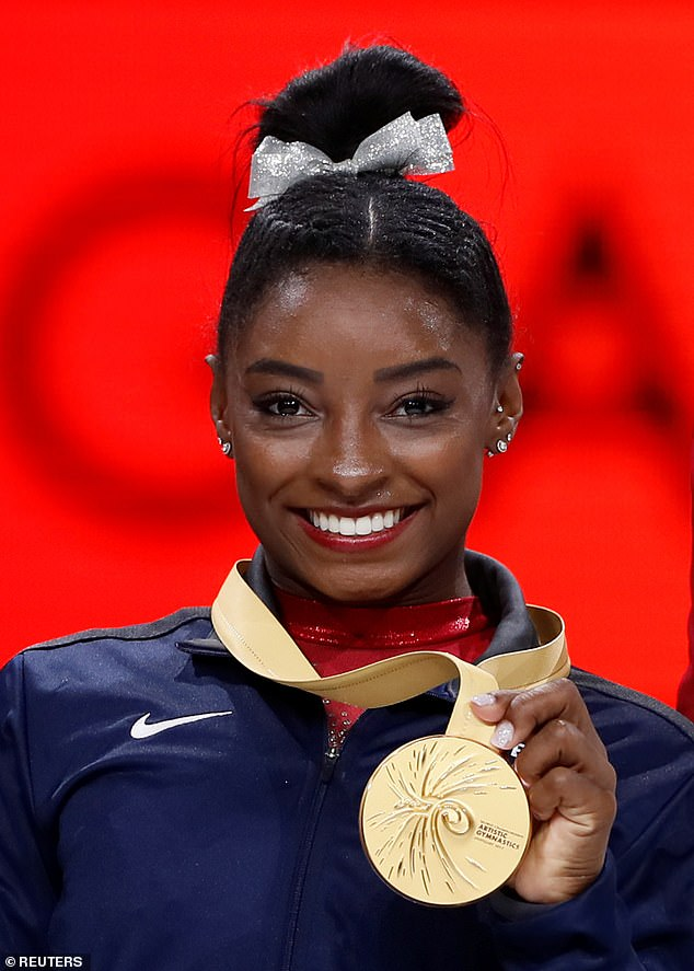 The American star earned her 23rd championship title, tying the record set by Belarusian Vitaly Scherbo for any gymnast, male or female