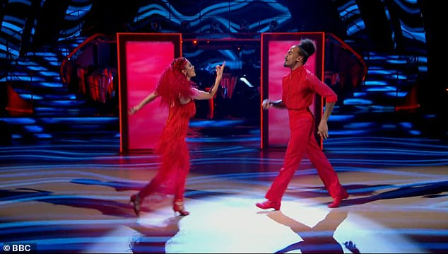 Playful:Dev Griffin and Dianne Buswell were up next with a Cha Cha Cha to Dancing With a Stranger by Sam Smith featuring Normani
