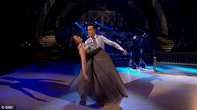 Jaw-dropping:Emma Barton and Anton Du Beke were second to take to the floor, with an emotional Viennese Waltz to Send in the Clowns by Barbra Streisand
