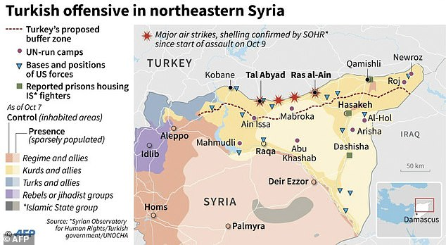 A map showing the Turkish offensive in northeastern Syria