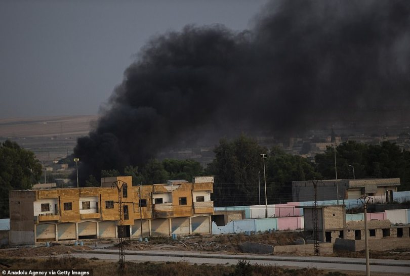 Black smoke rising in Tel Abyad after terrorists burnt tires and diesel fuel to avoid being targeted by the Turkish army's aerial vehicles