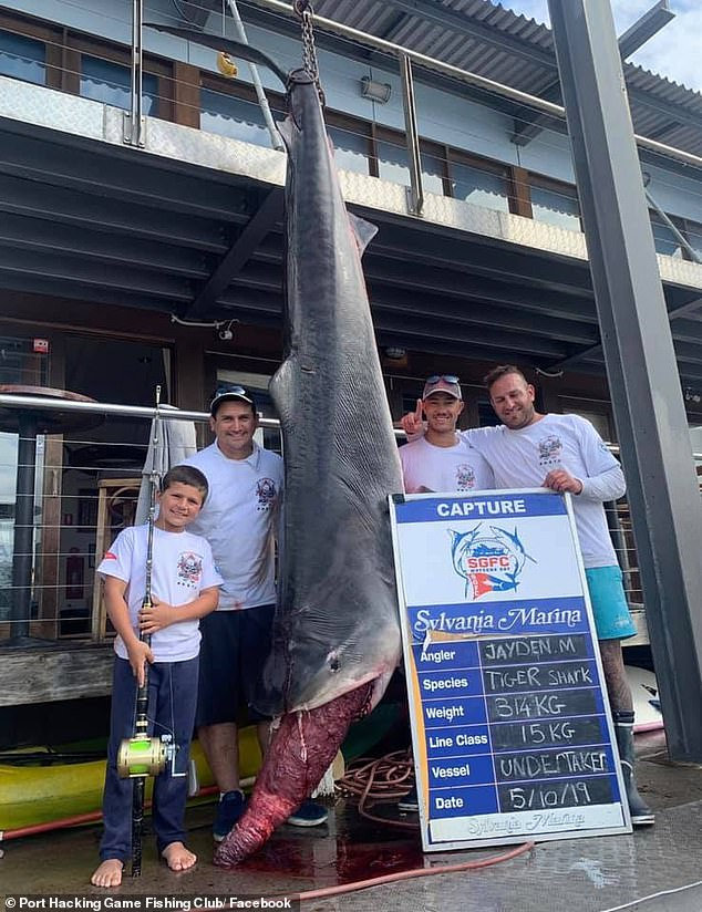 When the trio weighed the shark they realised the shark was two kilograms heavier than the previous junior record (pictured: Jayden Millauro  and his dad Jonathan Millauro, left)