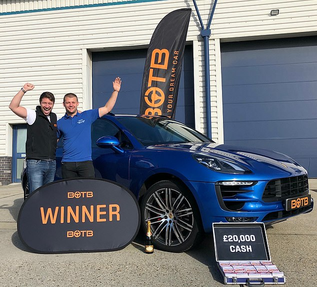 Mr Harvey (pictured in blue top) has been left 'gobsmacked' after having just sold his first prize, a Porsche 911 Carrera 4 GTS worth £110k, from the competition in 2017 (pictured with the Porsche two years ago). He sold his first win for around £90k as he wanted to get a deposit down on a new house