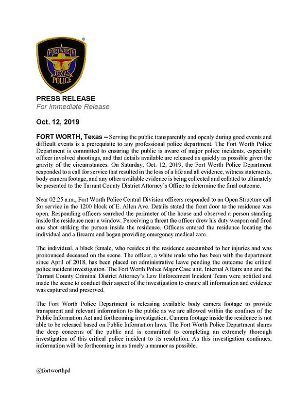 Pictured: the press release statement detailing the incident between Jefferson and the officer