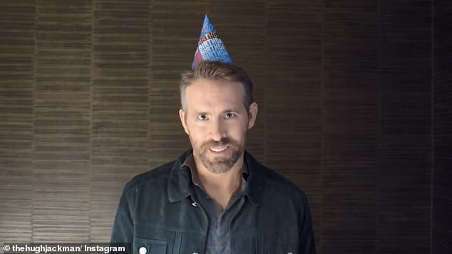 'I was going to wish you a happy birthday then I saw what you said': Ryan Reynolds (pictured) serenaded Hugh Jackman with a cheeky song for his 51st in an Instagram video Saturday