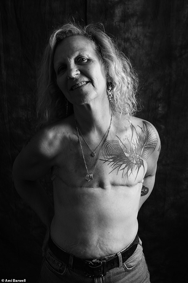 Caroline Caffrey, 58, from Brighton, was diagnosed with breast cancer in 2008. She said: 'I wanted to take part in the shoot as I live flat, having never worn a prosthesis, and I am happy and proud with that choice. I want to highlight and share that not having breasts does not make me less feminine, that it is a positive choice. When I had my surgery I found there were no pictures to show me what I was going to look like post-surgery, things have changed a little but a project like this celebrates the positive side of scars'