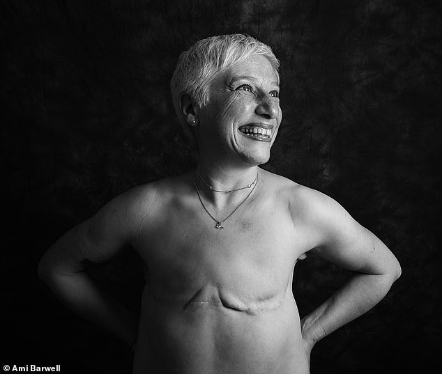 Juliet Fitzpatrick, 57, from Hertfordshire, was diagnosed with breast cancer in her left breast in 2016. She said: 'I wanted to model for this project to show what a woman living flat after a mastectomy looks like. We're hidden too often and I feel like the taboo needs to be broken. I still feel like a woman even though I don't have breasts and I want the world to see that. It's important because when I was told that I'd need a mastectomy I'd never seen any photos of women without breasts. I thought it would be scary to look at but actually the photos that I now see are beautiful. We need more photos to be out there for all to see'