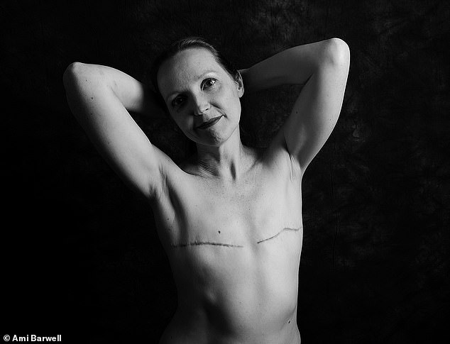Angela Crossland, 46, from Buckinghamshire, was diagnosed with breast cancer in 2018. She said: 'My body bears the scars, but is still capable of doing all the things I love. I came across a number of women online – including Ami's first round of mastectomy photographs – that were showing their post mastectomy bodies. It was a source of strength to see those ladies baring their scars, and demonstrating life goes on – with or without breasts. If I can help other women facing mastectomy, or indeed anyone not confident about their body, then I'd like to pay that feeling forward'