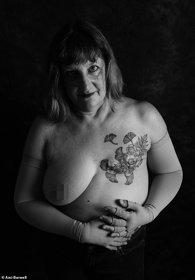 Alison Meaton, 59, West Cornwall, was diagnosed with stage 3 breast cancer when she was 48. She said: 'A cancer diagnosis means your life will never be the same again but it doesn't need to mean that your life is ruined. I want people to see that living with the aftermath of cancer can be a catalyst to change priorities. I want to try new experiences and use my time wisely. I've had a tattoo on my mastectomy scar to mark 10 years survival, swum with seals and eels, learnt new crafts and I volunteer to support those living with inequality in our society'