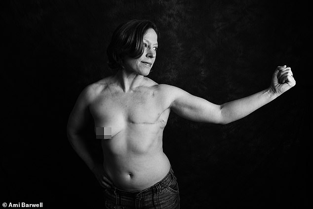 Thomasina McGuigan, 45, from Portsmouth, was diagnosed at 20 with stage 3 invasive breast cancer. She said: 'A lot of women get breast cancer and a lot of those now survive it. Those survivors often live very comfortably with their new body image. But the public impression of this illness and what it does to your body hasn't caught up with this. The first mastectomy scar I ever saw was my own, and that kind of secrecy and mystique just adds to the perception of fear. I am extremely proud of my scar. It is a story of survival of an unexpected diagnosis and some pretty unpleasant treatment and is an important part of who I am'