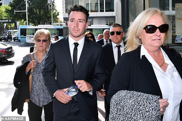 Former Penrith Panthers reserve grade player Liam Coleman (pictured) accused of indecently assaulting a woman has squirted a photographer with water as he arrived at court
