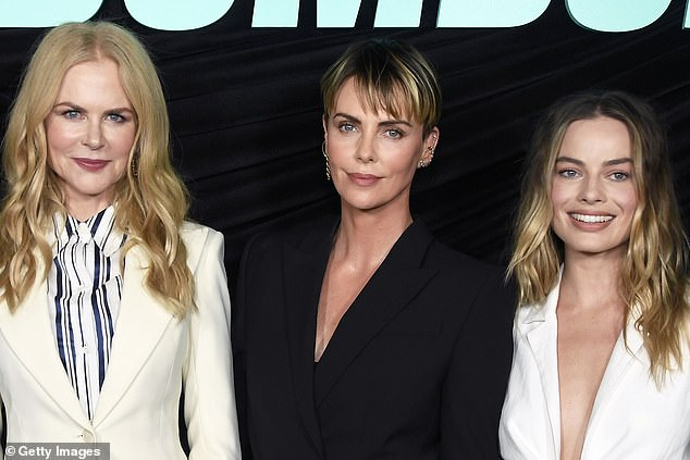 All good things happen in threes:They were joined by another major Hollywood player, their co-star in the Bombshell film, Academy Award winner Charlize Theron