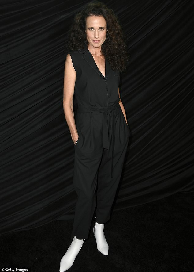 Stunner as always:Also present at the Bombshell screening in Los Angeles on Sunday night was celebrated model-actress Andie MacDowell, in a sublime black sleeveless jumpsuit