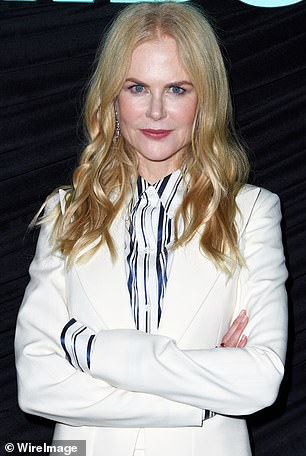 Elegance: The Big Little Lies star wore a striped blouse underneath her suit jacket