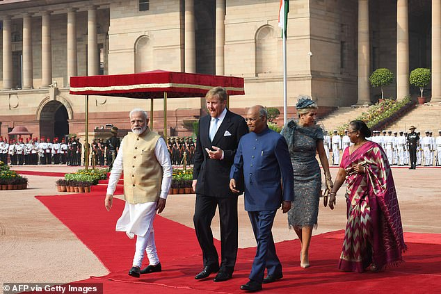 The royal couple were also joined by the Indian president Ram Nath Kovind (third from left) and his wife Savita Kovind (right)