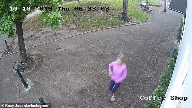 While the third video does not show the woman defecating, it is a clear shot of her running down the street, wearing navy running tights and a lavender top