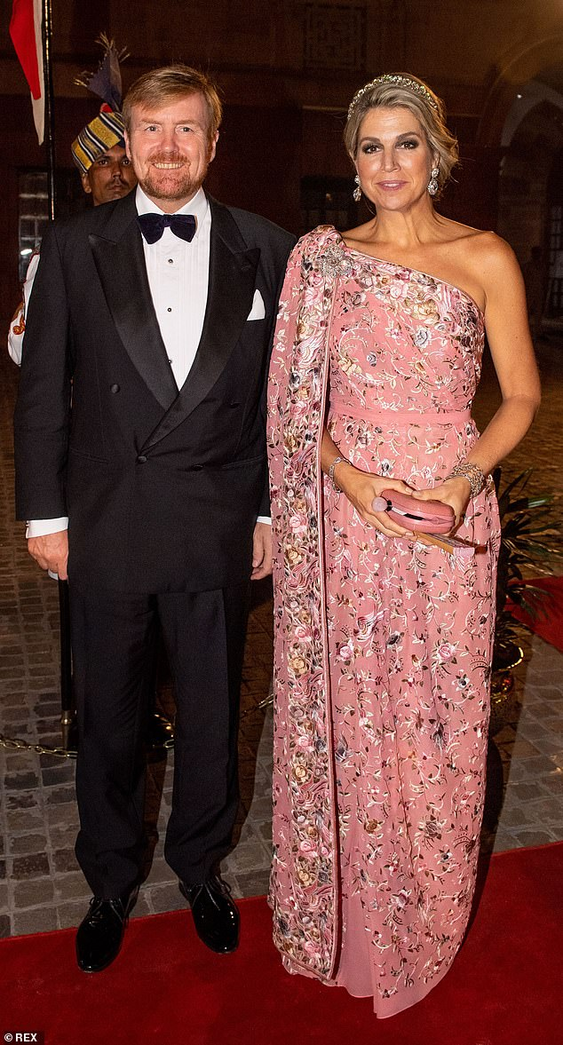 The royal was joined by her husband King Willem-Alexander, 52, for the lavish ceremony in the Indian capital