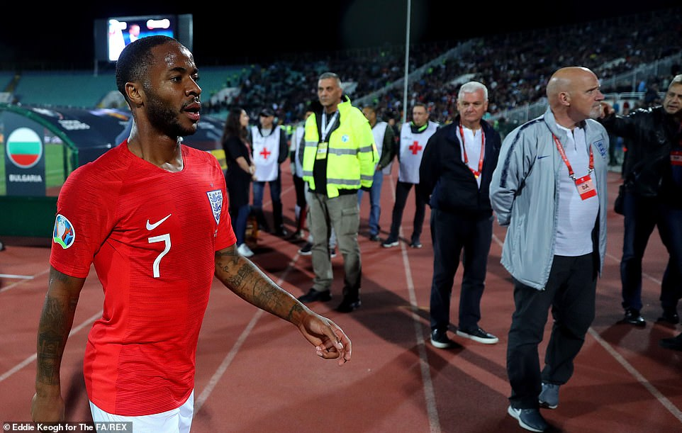 England's Raheem Sterling was a target for much of the abuse with reporters inside the stadium hearing monkey noises and jeers directed at him