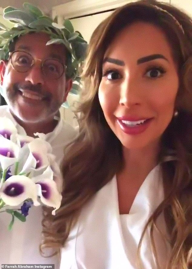 Celebration: Farrah took to Instagram Monday to share details of her father's weekend 'toga' wedding at a llama ranch in Texas where she served as his 'best woman'